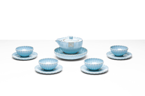 Chiselled Tea Set With Sky Blue Crackle Glaze