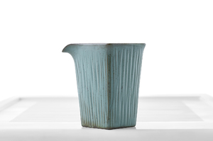 Bluish-Gray Glazed Square Cut Tea Pitcher