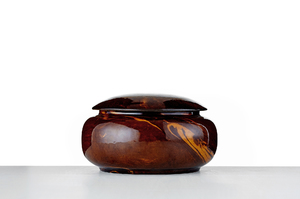 Round Tea Caddy With Brown Glaze