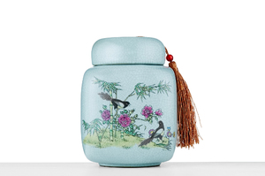 Tall Rectangular Tea Caddy With Crackle Glaze And Picture Of Birds In Bamboo Grove