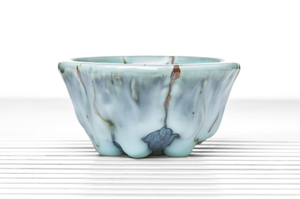 Blue Drip Glazed Conical Tea Bowl With Silver Cicada Incrustation