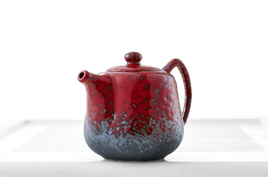Red Mottled Tall Teapot