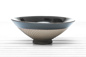Conical Tea Bowl With Brownish Green Crackle Glaze