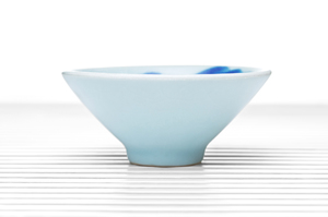 Conical Tea Bowl With White Crackle Glaze