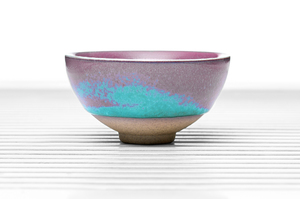 Roundish Tea Bowl With Blue And Pink Glazing