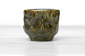 Footed Cylindrical Tea Bowl With Moss Green, Amber And Brown Glaze